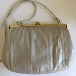 Cream/Light Gray Color Leather Evening Bag